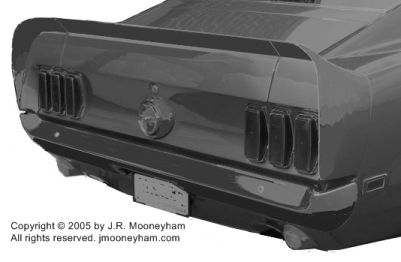 Custom-made rear spoiler extension for the 1969 Ford Mustang Mach 1 one-of-a-kind supercar Shadowfast