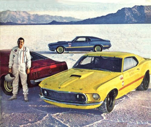 Famed racer Mickey Thompson with his record-setting Mustangs at Bonneville